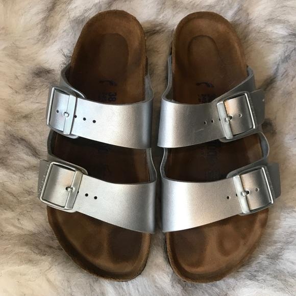 5344b8561bed Birkenstock Shoes - Silver Birkenstock Arizona Soft Footbed Sandals
